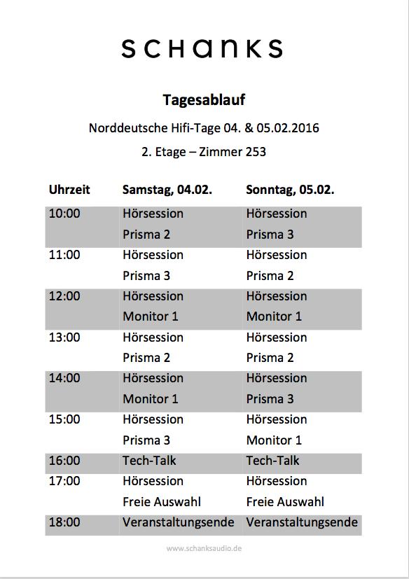 Ablaufplan für die Norddeutschen-HiFi-Tage 2017